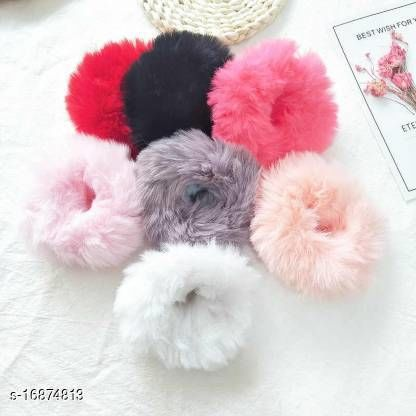 Girls Fluffy Fur rubber band Headband  Hair Band Hair Accessories (Random Color) Pack Of 12 (Multicolor)