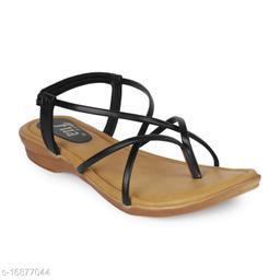 Fiia Women Fashion Stylish Sandals Thong Slippers Black - 06