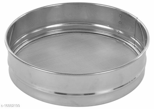 Stainless Steel Food Strainers (Atta Chalni) Flour Sieve Sifting Strainer Cake Sugar Baking Kitchen Tools Flatware Sets Sifters for Baking & Powdered Sugar-Silver