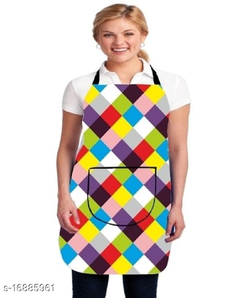 Decorist Printed PVC Waterproof Kitchen Apron with Front Pocket (Pack of -1)