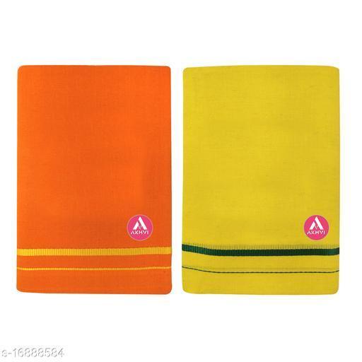 AKHVI Men's Fancy Plain Lungi with border (Pack of 2)