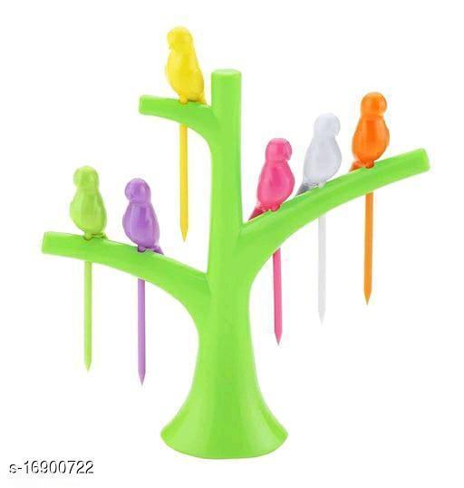 SmartClick Bird Fruit Fork Set with 1 Stand, 6 Forks Plastic Fruit Fork  (Pack of 1)