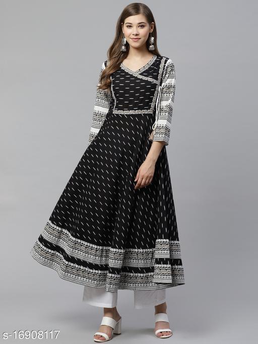 AKIKO Women's Cotton & Cotton Slub Ikat Printed Anarkali Kurta (Black)