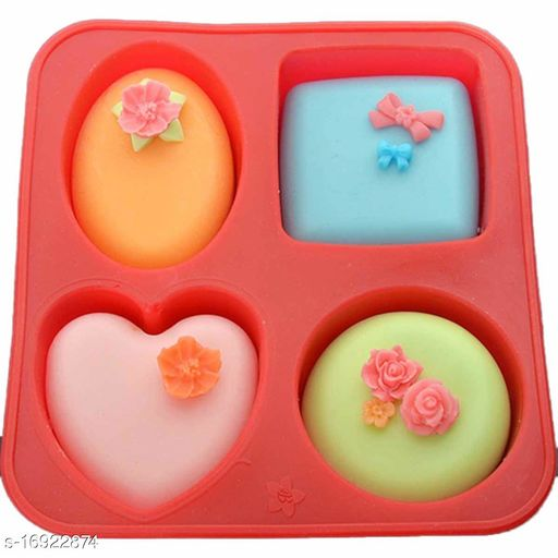 4 Cavity Silicon Soap Cake Making Mould | 4 Shapes, Circle, Square, Oval and Heart
