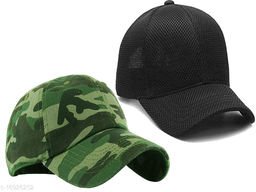 CAPS FOR MENS and Women's Mesh Snapback Baseball Cap for Hunting, Fishing, Outdoor Activities, Combo Pack, (Free Size, Multicoloured, Pack of 2)