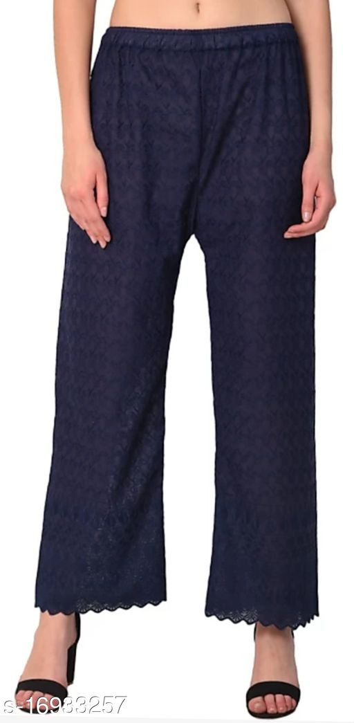 Relaxed Women NavyBlue Cotton Blend Trousers(Suitable for Waist Size 28 to 44 Inches)