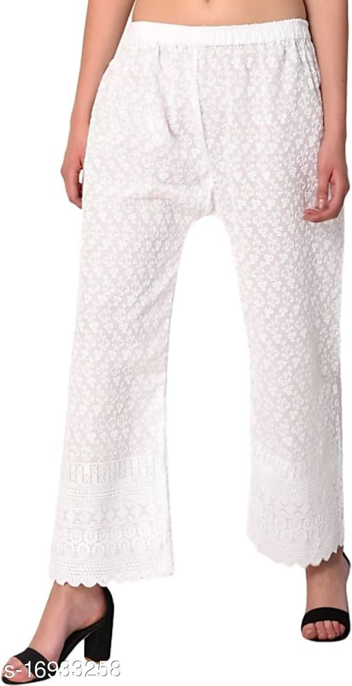 Relaxed Women White Cotton Blend Trousers(Suitable for Waist Size 28 to 44 Inches)