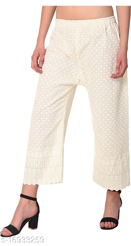 Relaxed Women Cream Cotton Blend Trousers(Suitable for Waist Size 28 to 44 Inches)