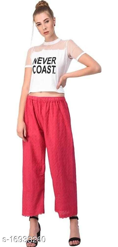 Relaxed Women Pink Cotton Blend Trousers(Suitable for Waist Size 28 to 44 Inches)