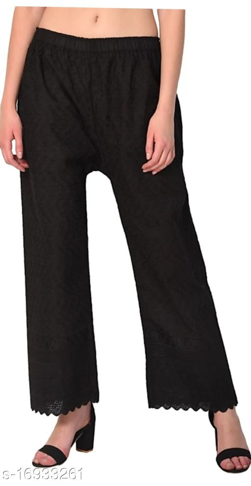 Relaxed Women Black Cotton Blend Trousers(Suitable for Waist Size 28 to 44 Inches)