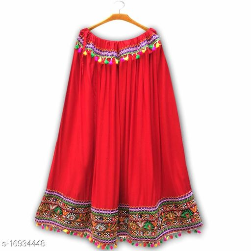 VR Creations Women Ethnic Gujrati Embroidered Border Cotton Rayon Long Skirt Red | Gujrati Skirt| Skirt