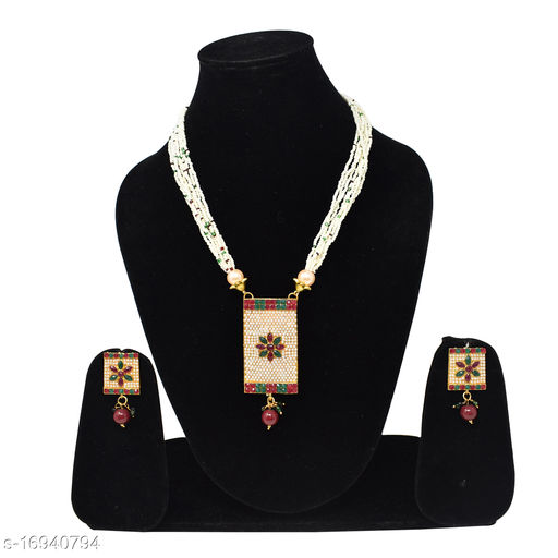 Traditional Beautiful White Pearl With Golden pendant Long Necklace Set For women and Girls