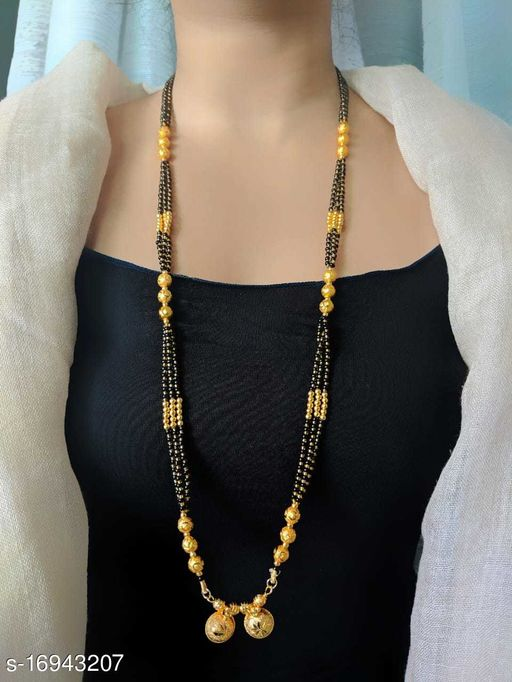 Long Mangalsutra One Gram Gold Plated Latest Design Tanmaniya/Long Gold Chain/Black Gold Beads Vati Pendant Ocassion Wear New Mangalsutra Designs For Women (38 Inches)