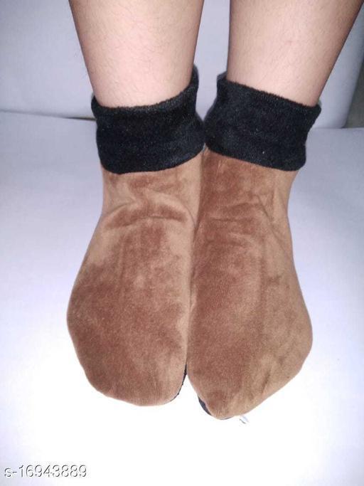 TLISMI BOOT SOCKS WINTER WARM SOCKS FREE SIZE( 3 PAIR) LIGHT BROWN