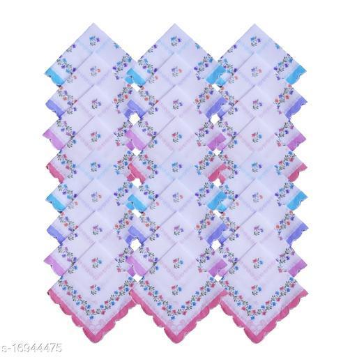 S4S 100% Cotton Pack of 24 Women's Cut Work Bordar Floral Handkerchief/Ladies Hankies (Size_30CM X 30CM)