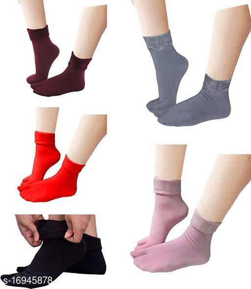 PinKit Multicolour Velvet Winter Thermal Color Thumb socks for Women Girls (Pack of 5 Pairs)