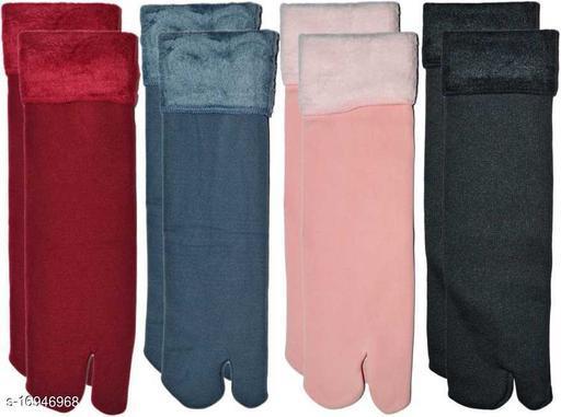 PinKit Multicolour Velvet Winter Thermal Color Thumb socks for Women Girls (Pack of 4 Pairs)