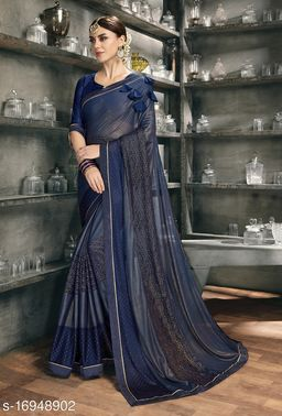 Blue Color Silk and Stone Work Party Wear Saree with blouse