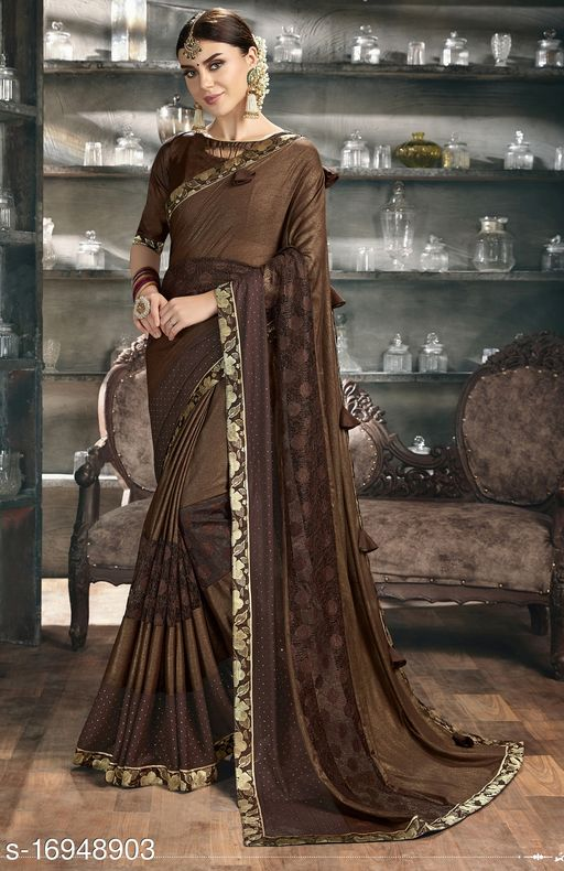 Brown Color Silk and Stone Work Party Wear Saree with blouse