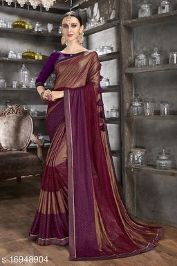 Golden Color Art Silk and Stone Work Party Wear Saree with blouse