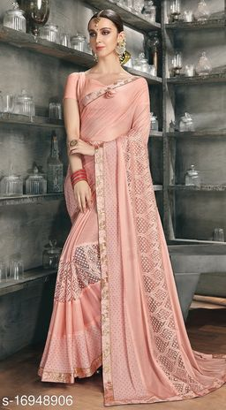 Peach Color Silk and Stone Work Party Wear Saree with blouse