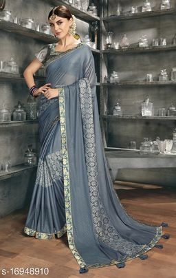 Grey Color Silk and Stone Work Party Wear Saree with blouse