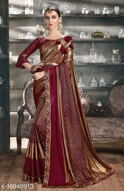 Golden Color Silk and Stone Work Party Wear Saree with blouse