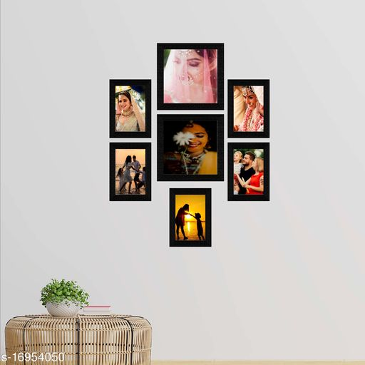 E Deals Set of 7 Collage Synthetic Framed with Acrylic Glass Photo Frame ( 8 Inch X 8 Inch - 2 , 5 Inch X 7 Inch - 5) PF-108