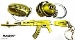 3 in 1 PUBG Ultimate Combo Keychain, Set of PUBG-Based Keyrings with Golden Gun, Helmet, Keychain Key Chain