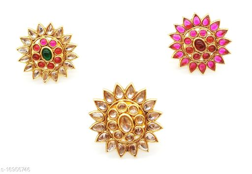 Round and Tilak Gold Plated Ring Combo Set