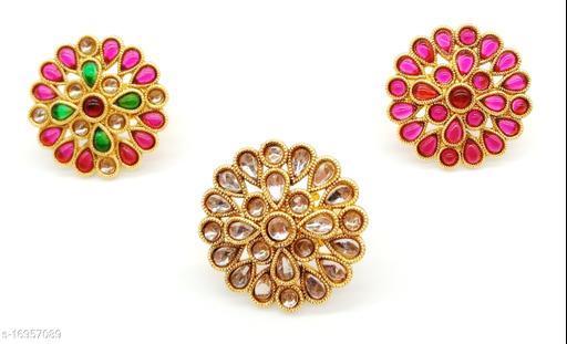 Flower Style Elegant Multicolour Combo Ring Set