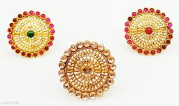 Round Kundan Floral Style Multicolour combo Ring Set