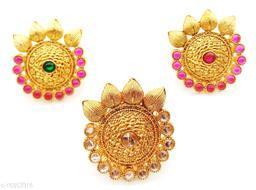 Leaf Style Round Kundan Combo Ring Set