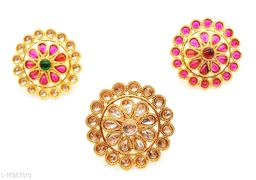 Multicolour Floral Style Round Kundan Combo Ring Set