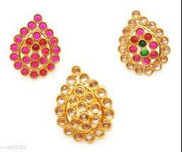Round kundan Leaf Style Multicolour Combo Ring Set
