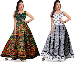 Cotton Women's A-Line Sanganeri Long Maxi Gown Dress - (Free Size Upto XXL, Blue)