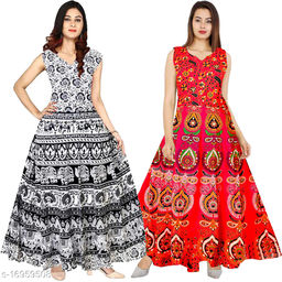 Cotton Women's Ankle Length Maxi Gown Dress - (Free Size Upto 44 Inch_XXL)