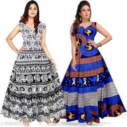 Cotton Bandhani Print Maxi Gown Dress - (Free Size Upto 44 Inch_XXL)
