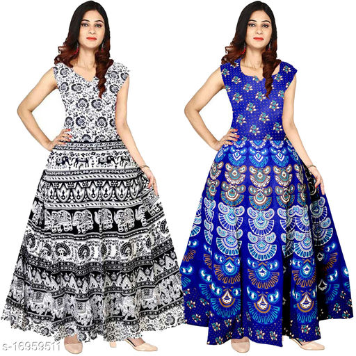 Cotton Women's Floral Print Ankle Length Maxi Gown Dress - (Free Size Upto 44 Inch_XXL)