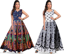 Cotton Women's Jaipuri Maxi Long Semi-Stitched Fabric (Multicolour, Free Size)