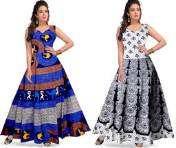 Cotton Women's Jaipuri Print Maxi Gown Dress - (Free Size Upto 44 Inch_XXL)