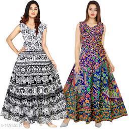 Cotton Women's A-Line Print Long Maxi Gown Dress - (Free Size Upto XXL)