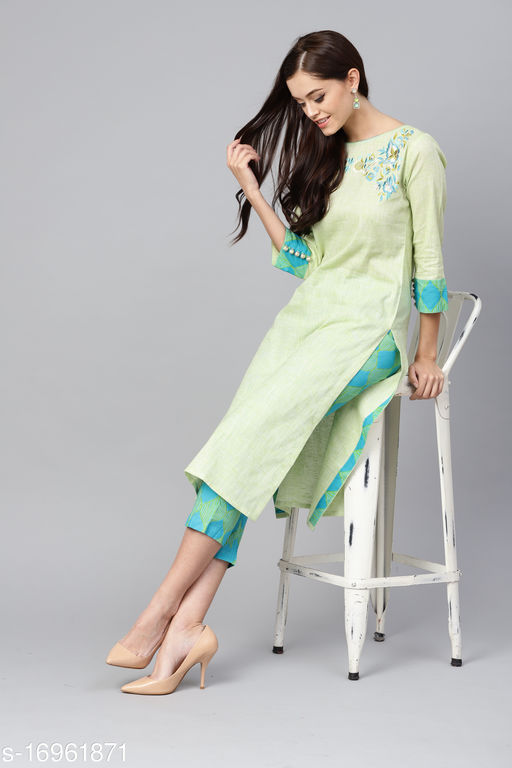 Indo Era Olive Floral Printed Straight Kurta with Trouser Sets