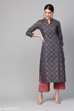 Women Cotton A-line Printed Long Kurti With Palazzos