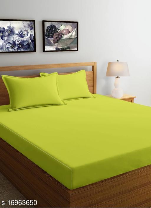 JSC 100% Cotton Plain Double Bedsheet with  Pillow Cover Green