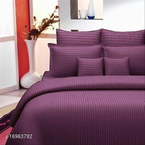JSC 100% Cotton Plain Double Bedsheet with  Pillow Cover Eggplant