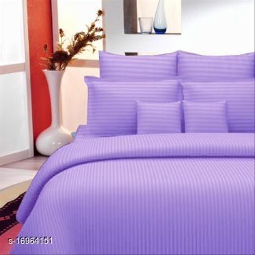 JSC 100% Cotton Plain Double Bedsheet with  Pillow Cover Purple