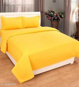 JSC 100% Cotton Plain Double Bedsheet with  Pillow Cover Yellow