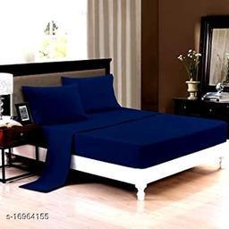 JSC 100% Cotton Plain Double Bedsheet with  Pillow Cover Blue