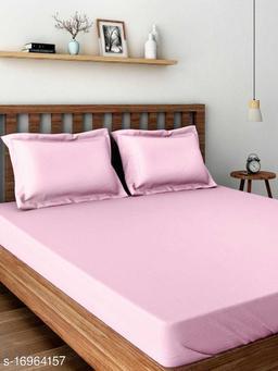 JSC 100% Cotton Plain Double Bedsheet with  Pillow Cover Pink